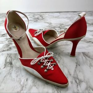 Vintage VS Red Lace Sneaker Pointed Toe Heels 7.5
